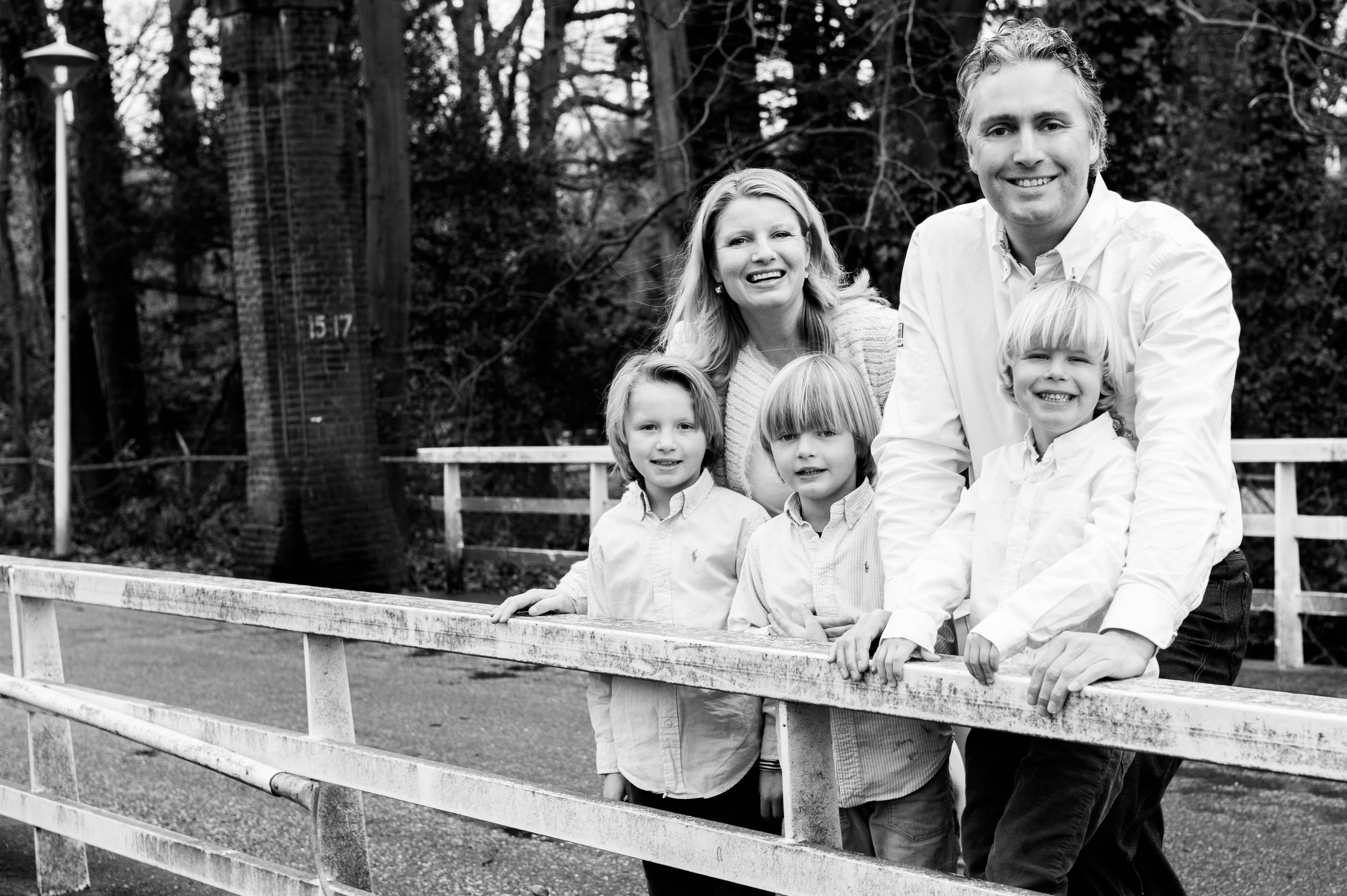 Familieportret Linda, Daniel, Joost, Friso en Olivier